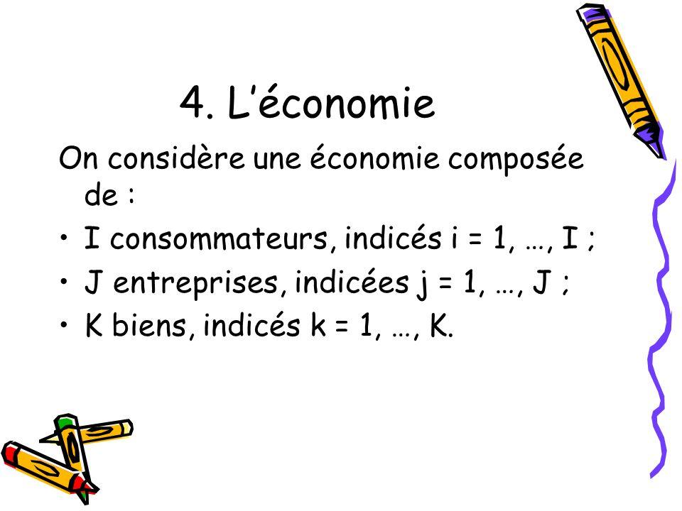 4. L'économie On considère une économie composée de :