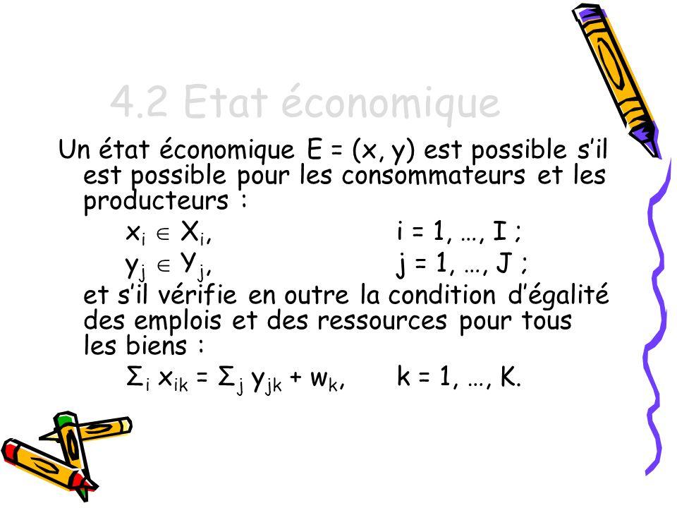 4.2 Etat économique Un état économique E = (x, y) est possible s'il est possible pour les consommateurs et les producteurs :