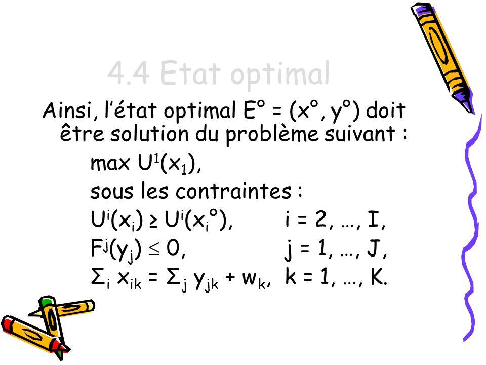 4.4 Etat optimal Ainsi, l'état optimal E° = (x°, y°) doit être solution du problème suivant : max U1(x1),