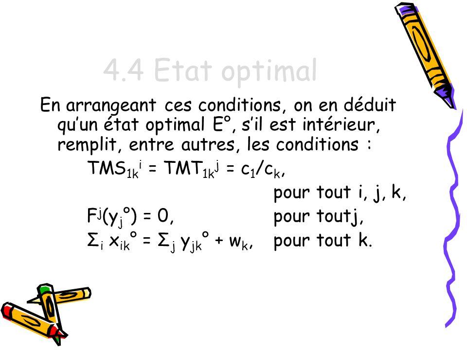 4.4 Etat optimal En arrangeant ces conditions, on en déduit qu'un état optimal E°, s'il est intérieur, remplit, entre autres, les conditions :