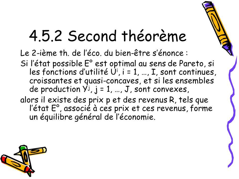 4.5.2 Second théorème Le 2-ième th. de l'éco. du bien-être s'énonce :