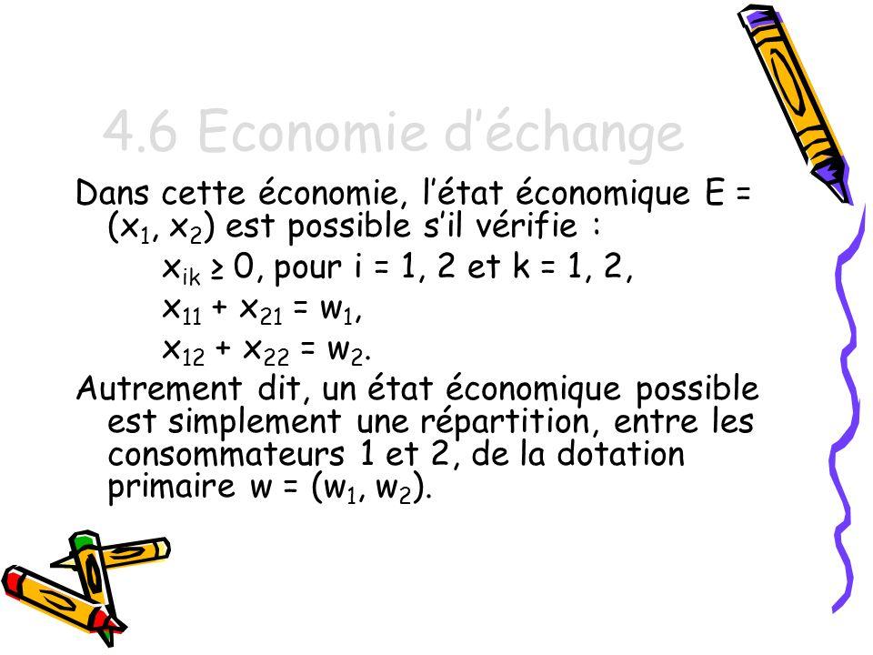 4.6 Economie d'échange Dans cette économie, l'état économique E = (x1, x2) est possible s'il vérifie :
