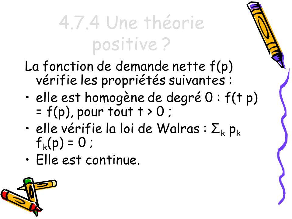 4.7.4 Une théorie positive La fonction de demande nette f(p) vérifie les propriétés suivantes :