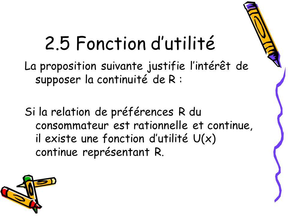 2.5 Fonction d'utilité La proposition suivante justifie l'intérêt de supposer la continuité de R :