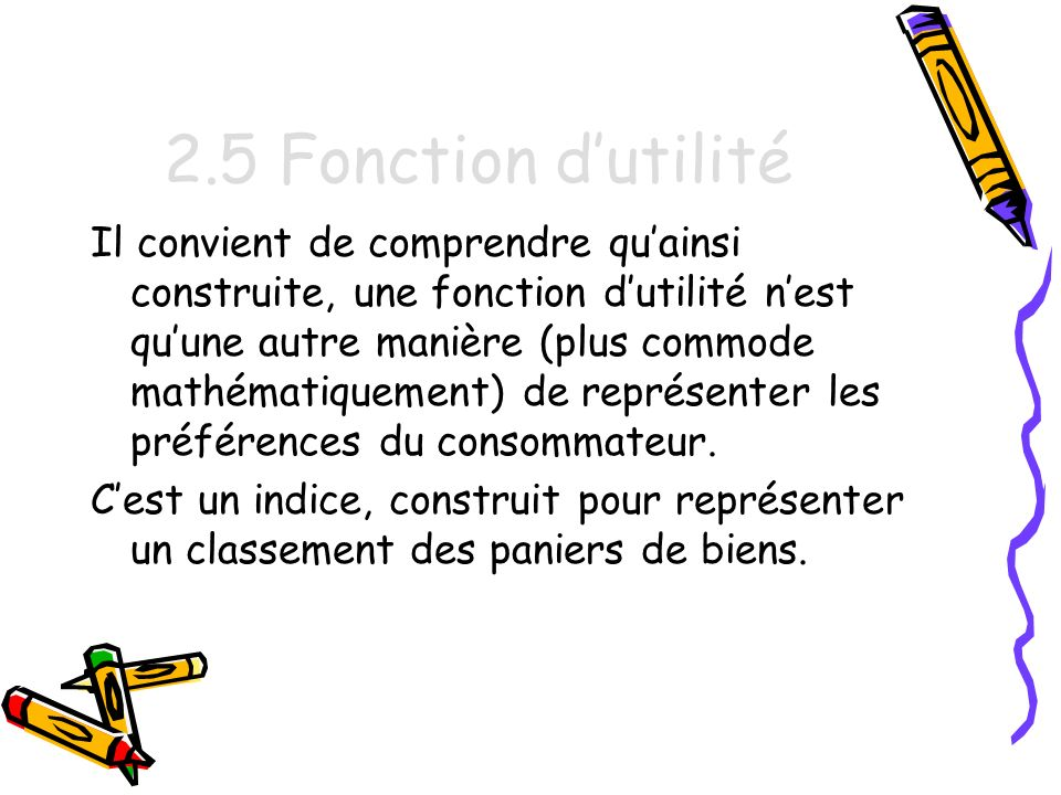 2.5 Fonction d'utilité