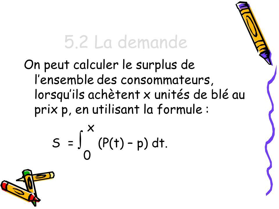 5.2 La demande On peut calculer le surplus de l'ensemble des consommateurs, lorsqu'ils achètent x unités de blé au prix p, en utilisant la formule :