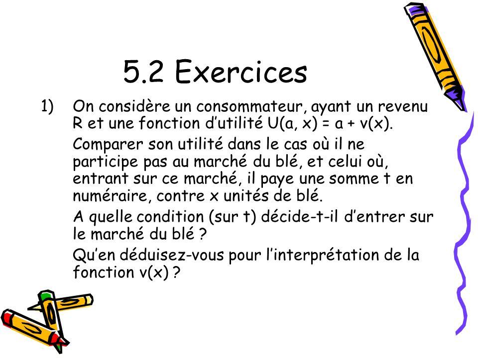 5.2 Exercices On considère un consommateur, ayant un revenu R et une fonction d'utilité U(a, x) = a + v(x).