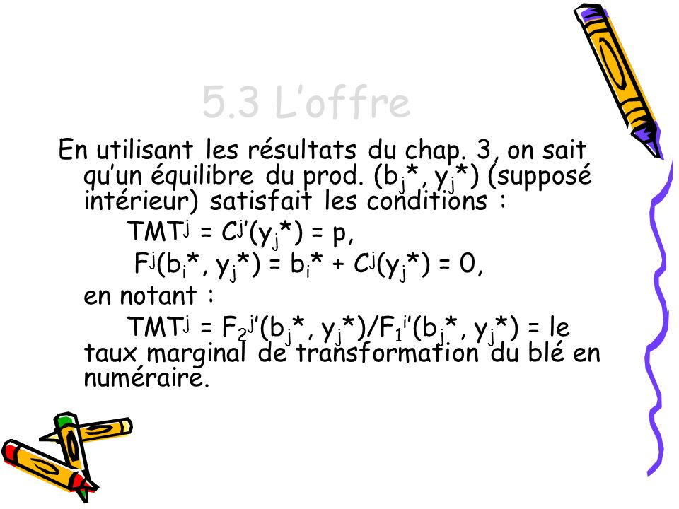 5.3 L'offre En utilisant les résultats du chap. 3, on sait qu'un équilibre du prod. (bj*, yj*) (supposé intérieur) satisfait les conditions :