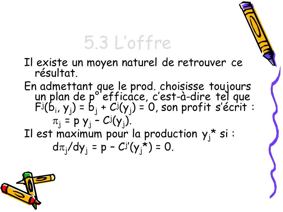 5.3 L'offre Il existe un moyen naturel de retrouver ce résultat.
