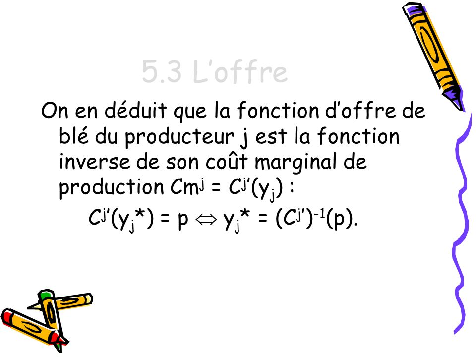 5.3 L'offre On en déduit que la fonction d'offre de blé du producteur j est la fonction inverse de son coût marginal de production Cmj = Cj'(yj) :