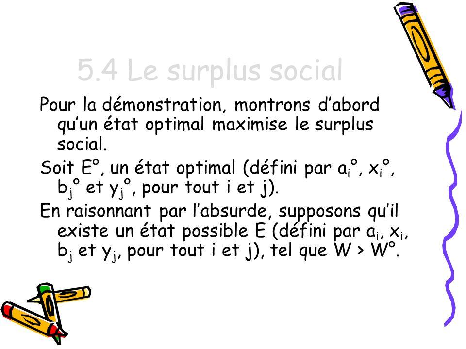 5.4 Le surplus social Pour la démonstration, montrons d'abord qu'un état optimal maximise le surplus social.