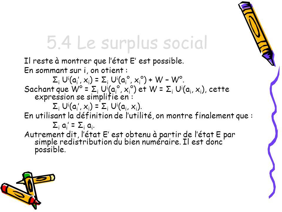 5.4 Le surplus social Il reste à montrer que l'état E' est possible.