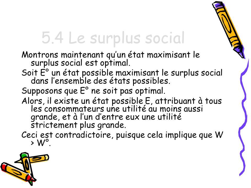 5.4 Le surplus social Montrons maintenant qu'un état maximisant le surplus social est optimal.