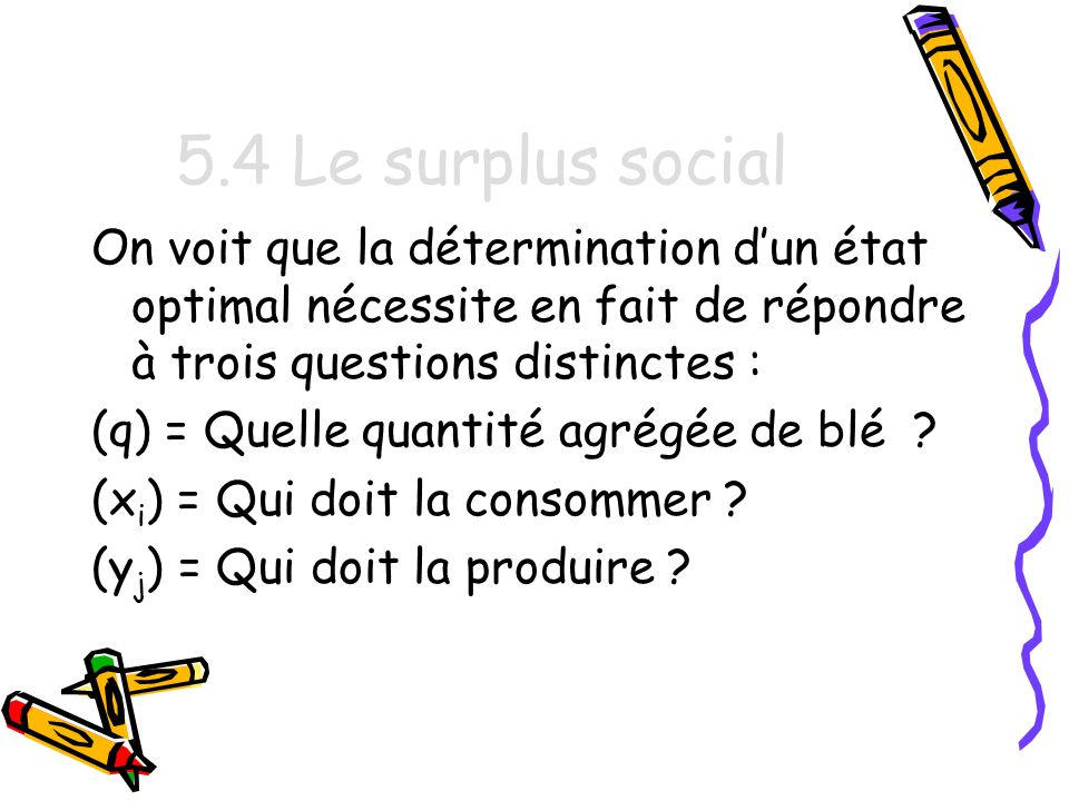5.4 Le surplus social On voit que la détermination d'un état optimal nécessite en fait de répondre à trois questions distinctes :