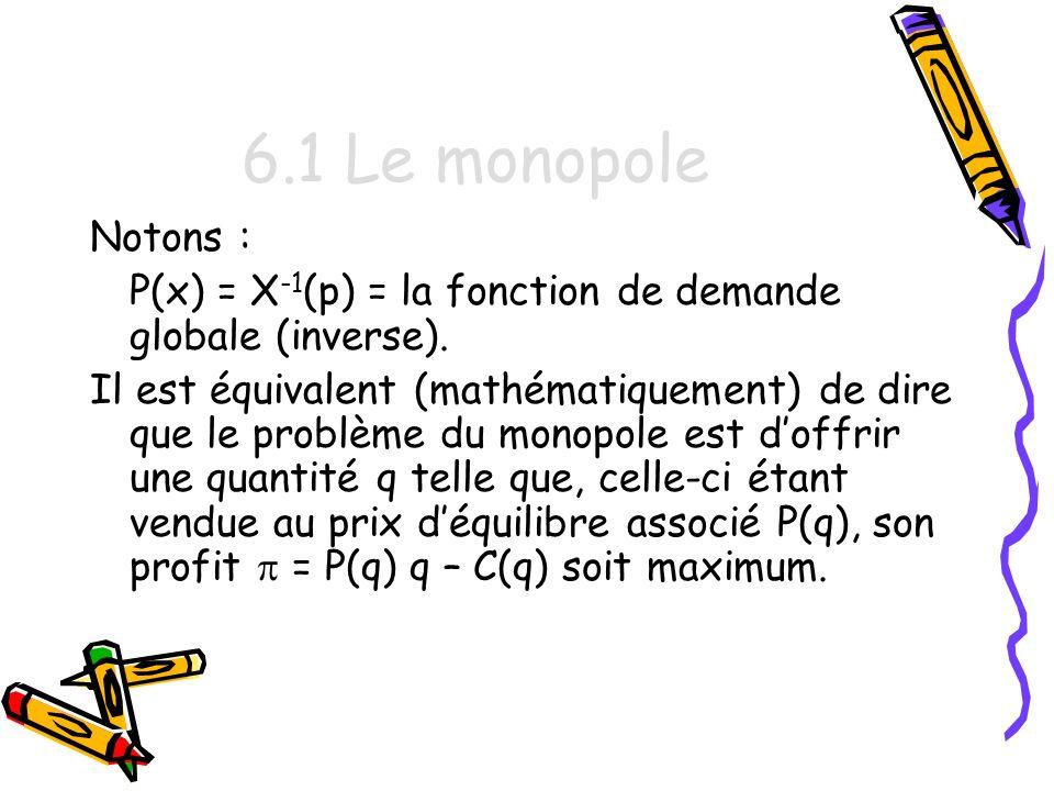6.1 Le monopole Notons : P(x) = X-1(p) = la fonction de demande globale (inverse).
