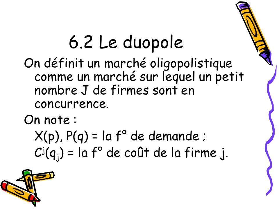 6.2 Le duopole On définit un marché oligopolistique comme un marché sur lequel un petit nombre J de firmes sont en concurrence.