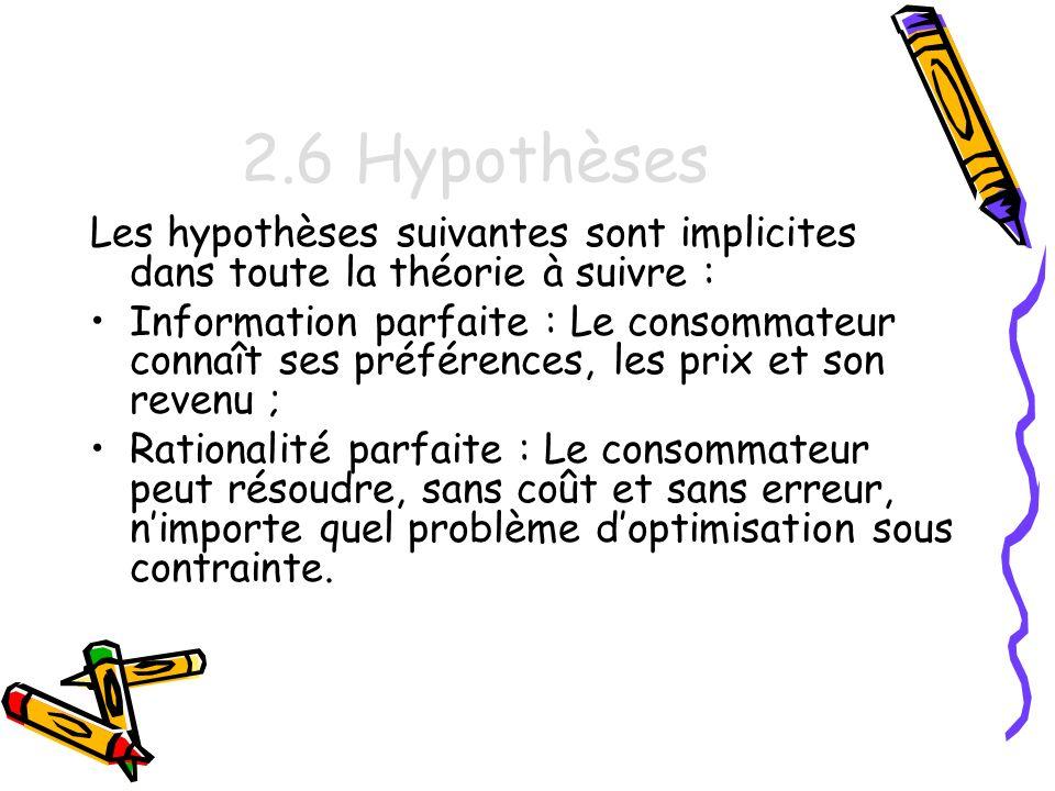 2.6 Hypothèses Les hypothèses suivantes sont implicites dans toute la théorie à suivre :