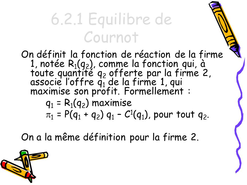 6.2.1 Equilibre de Cournot