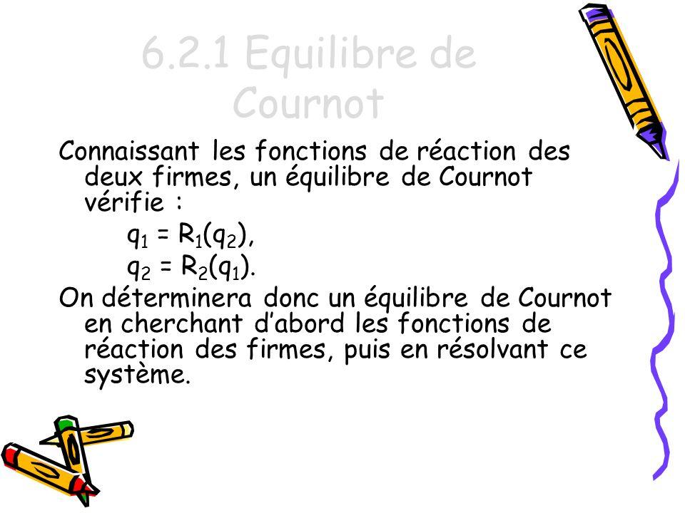 6.2.1 Equilibre de Cournot Connaissant les fonctions de réaction des deux firmes, un équilibre de Cournot vérifie :