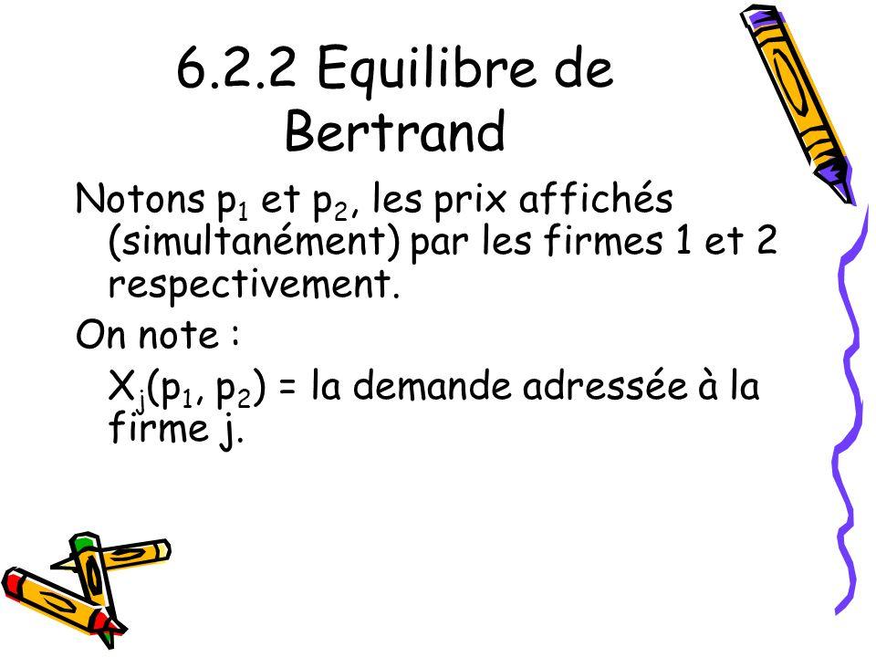 6.2.2 Equilibre de Bertrand Notons p1 et p2, les prix affichés (simultanément) par les firmes 1 et 2 respectivement.