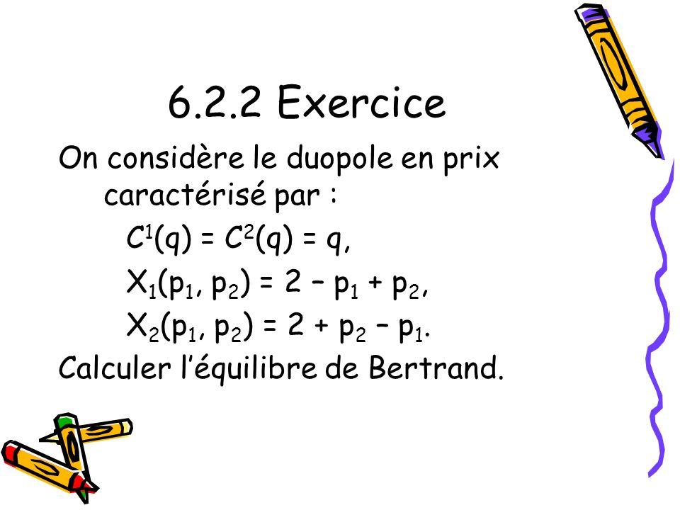 6.2.2 Exercice On considère le duopole en prix caractérisé par :