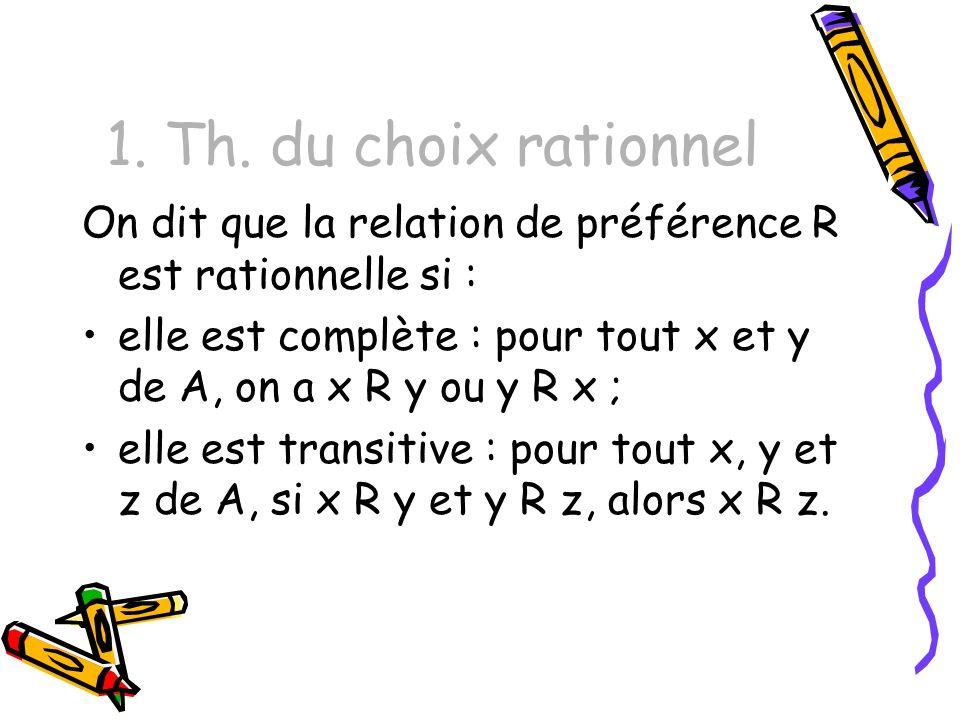 1. Th. du choix rationnel On dit que la relation de préférence R est rationnelle si :