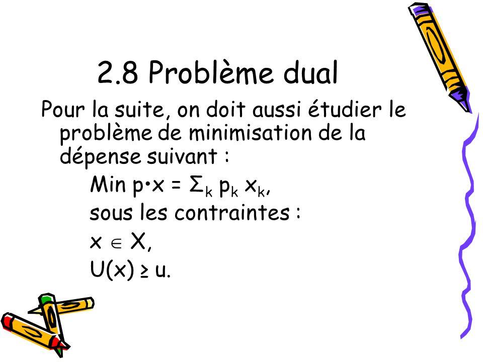 2.8 Problème dual Pour la suite, on doit aussi étudier le problème de minimisation de la dépense suivant :