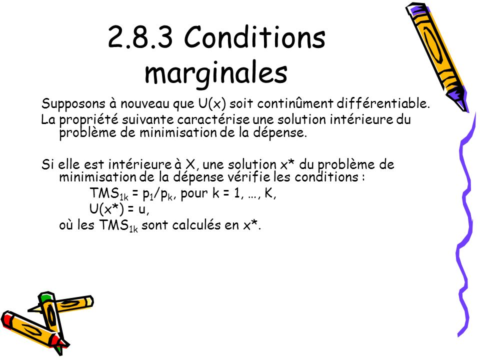 2.8.3 Conditions marginales