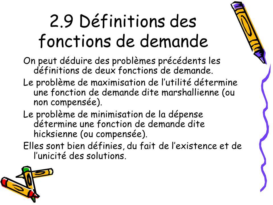 2.9 Définitions des fonctions de demande