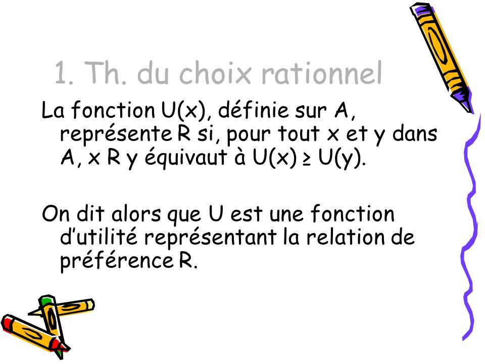 1. Th. du choix rationnel La fonction U(x), définie sur A, représente R si, pour tout x et y dans A, x R y équivaut à U(x) ≥ U(y).