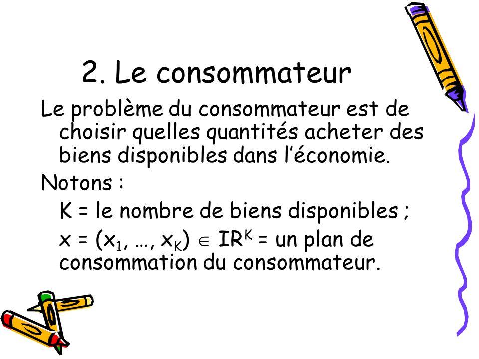 2. Le consommateur Le problème du consommateur est de choisir quelles quantités acheter des biens disponibles dans l'économie.
