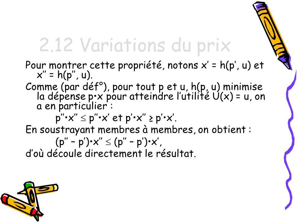 2.12 Variations du prix Pour montrer cette propriété, notons x' = h(p', u) et x'' = h(p'', u).