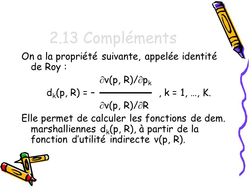 2.13 Compléments On a la propriété suivante, appelée identité de Roy :