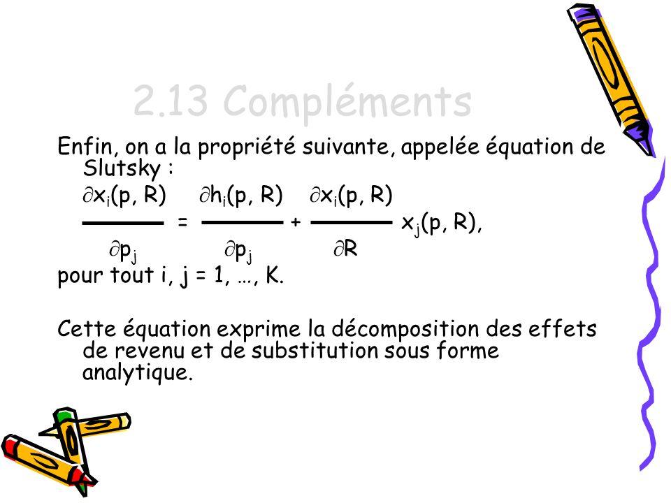 2.13 Compléments Enfin, on a la propriété suivante, appelée équation de Slutsky : xi(p, R) hi(p, R) xi(p, R)