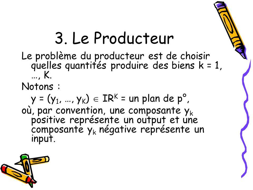 3. Le Producteur Le problème du producteur est de choisir quelles quantités produire des biens k = 1, …, K.