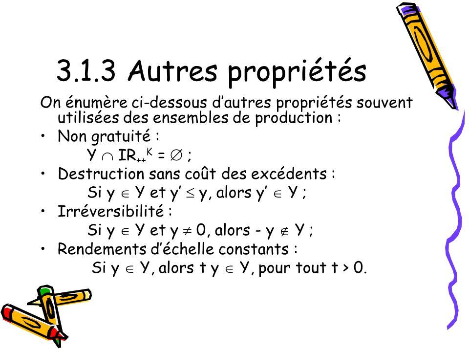 3.1.3 Autres propriétés On énumère ci-dessous d'autres propriétés souvent utilisées des ensembles de production :