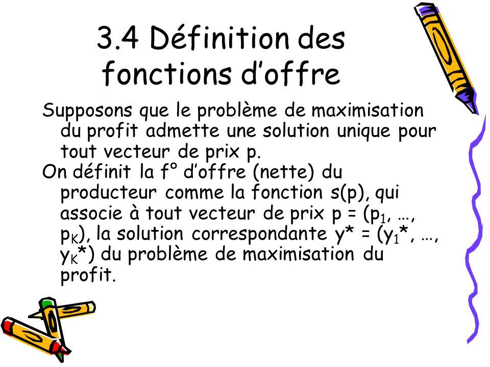 3.4 Définition des fonctions d'offre