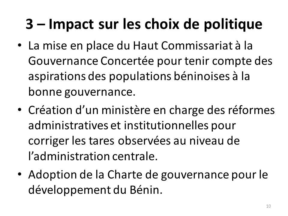 3 – Impact sur les choix de politique