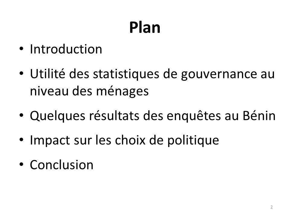 Plan Introduction. Utilité des statistiques de gouvernance au niveau des ménages. Quelques résultats des enquêtes au Bénin.