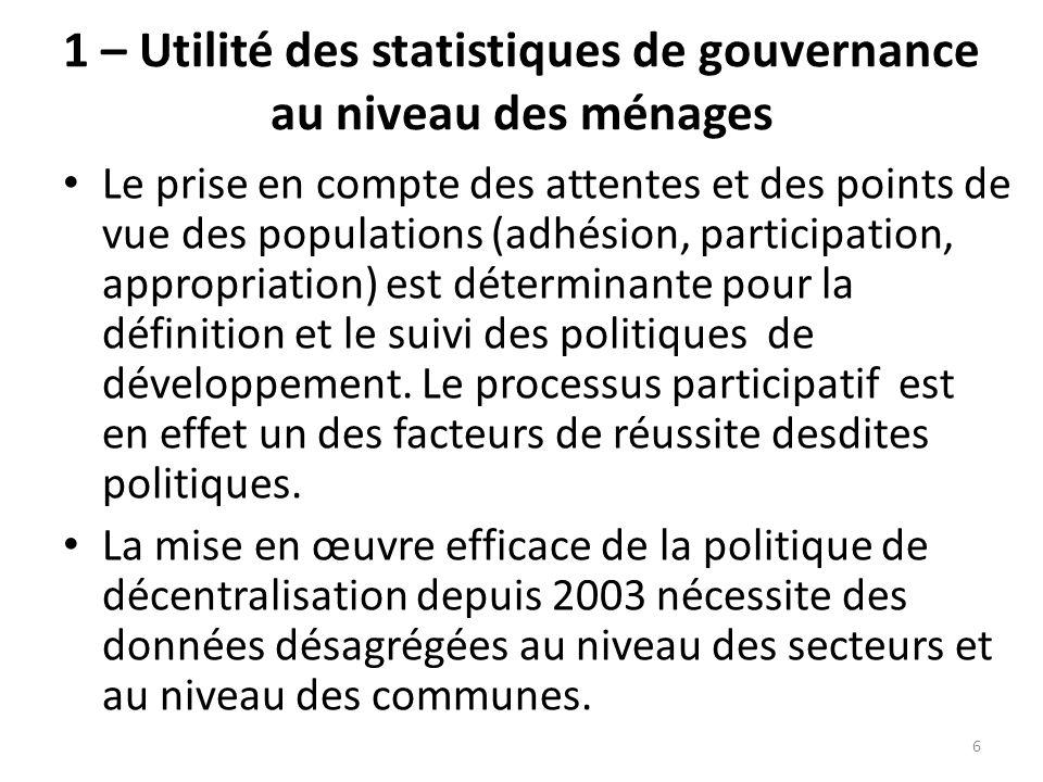 1 – Utilité des statistiques de gouvernance au niveau des ménages