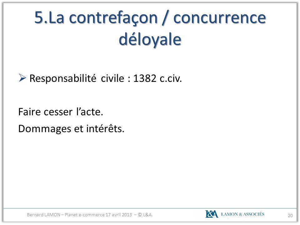 5.La contrefaçon / concurrence déloyale