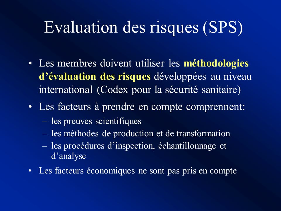 Evaluation des risques (SPS)