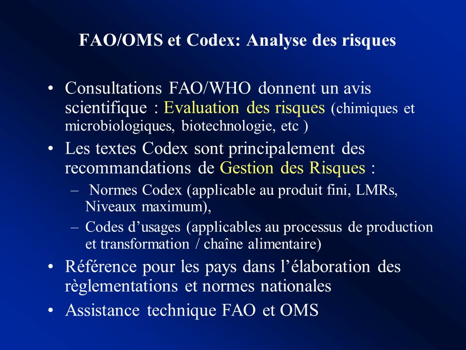 FAO/OMS et Codex: Analyse des risques