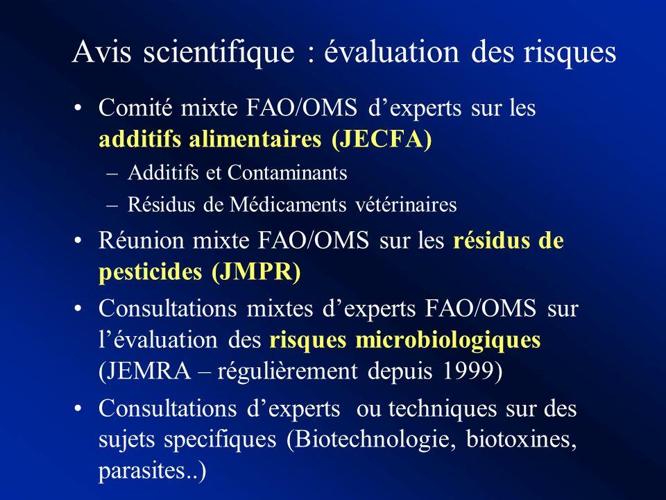 Avis scientifique : évaluation des risques