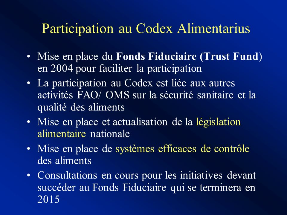 Participation au Codex Alimentarius