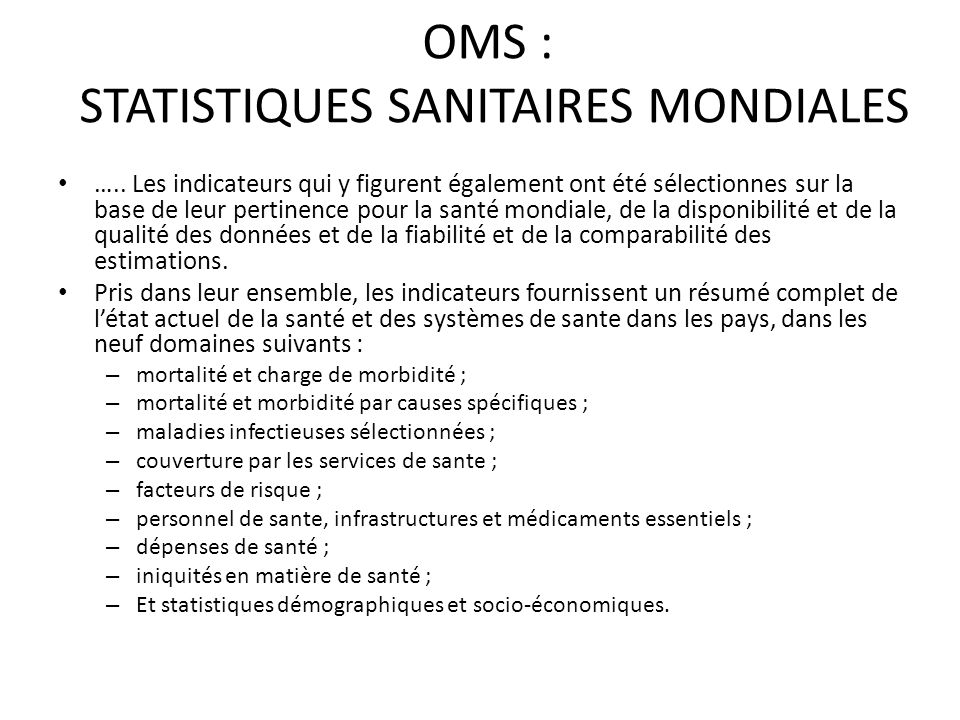 OMS : STATISTIQUES SANITAIRES MONDIALES