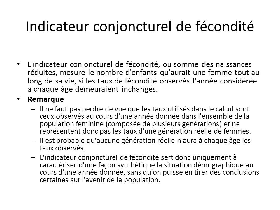 Indicateur conjoncturel de fécondité