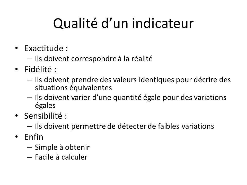 Qualité d'un indicateur
