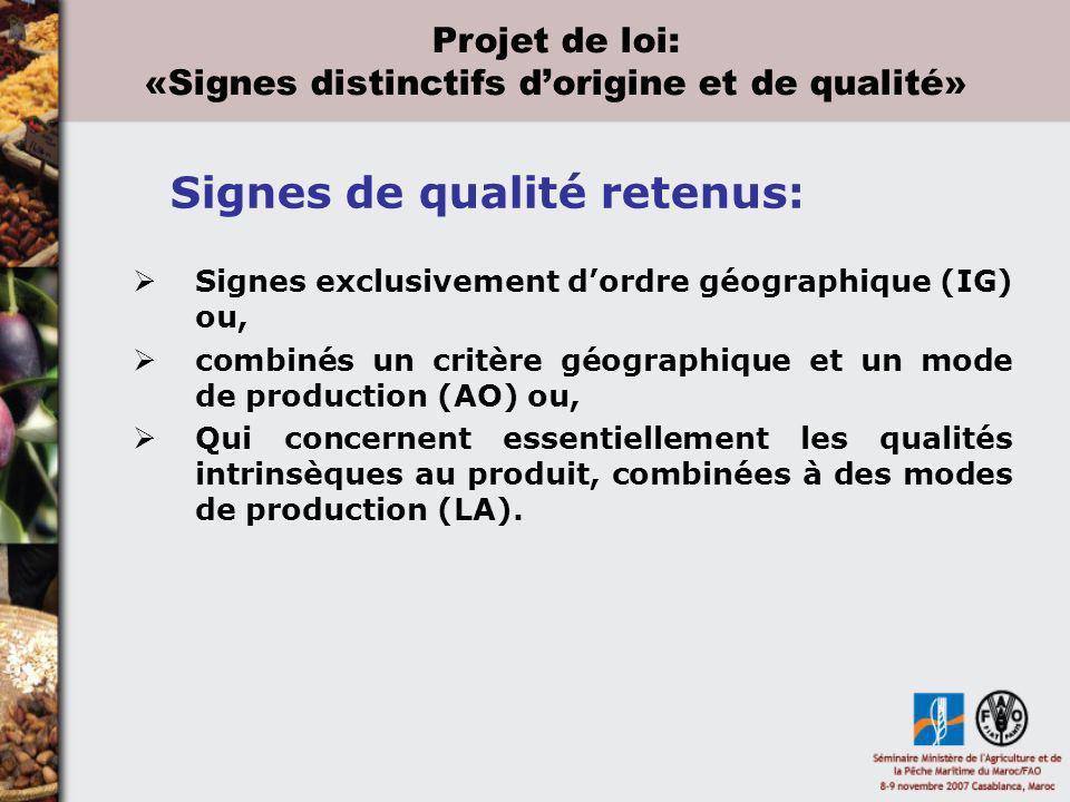 «Signes distinctifs d'origine et de qualité»