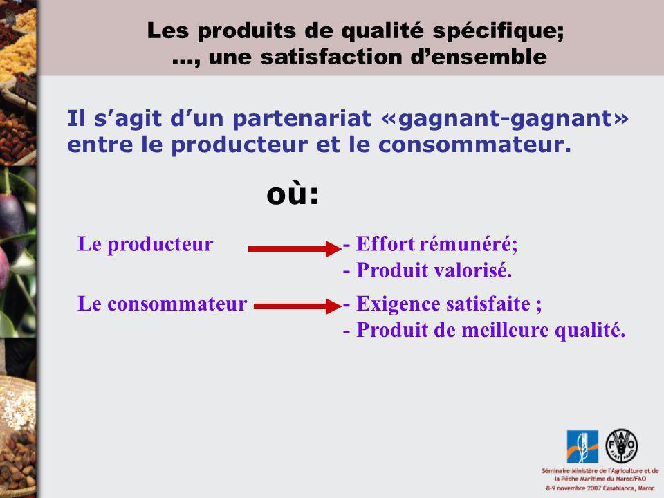 Les produits de qualité spécifique; …, une satisfaction d'ensemble